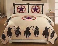 3Pcs Texas Western Design Star Horse Quilt BedSpread Comforter Style-Queen