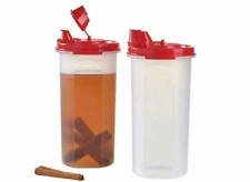 Two Tupperware Modular Mates 22-oz Round #3's with Red Pour Seals Oil Vin. + New