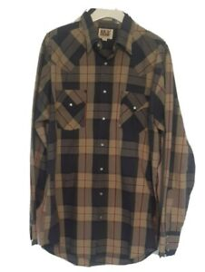 Big And Tall Eli Cattleman Gray/Navy Pearl Snap Button Up Size LT