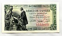 Spain- Guerra Civil. Billete. 5 Pesetas. 1945. Madrid. SC/UNC. Perfecto
