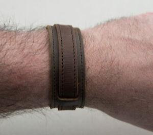 Bracelet de Force en cuir véritable marron style Johnny Deep 25 mm FS1B 26852