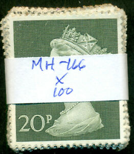 GREAT BRITAIN SG-830, SCOTT # MH-166 MACHIN, USED, 100 STAMPS, GREAT PRICE!