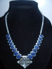 Navy Drops, Medallion Necklace. Lucky Brand Authentic,Nwt, Silver Tone,