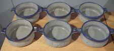 6 vintage Laurentian Pottery Blue Onion Soup Bowls Chili Stew Bean Chowder Bowls
