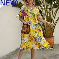 V Neck Maxi Cocktail Womens Dresses Evening Party Floral Loose Casual Dress