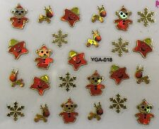 Nail Art 3D Decal Stickers Irisescent Golden Star Reindeer Snowflakes YGA018