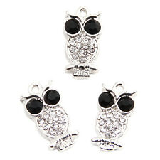 10pcs New Silver Plated White&Black Rhinestone Alloy Owl Jewellery Pendants BS