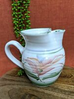 Vtg Hand Thrown White & Floral Jug Pitcher Pottery Handmade Rustic Farmhouse