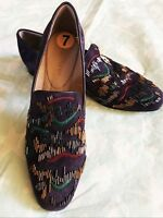 $298 NEW DONALD J PLINER LEANNE BEADED SUEDE PURPLE LOAFER SHOES Sz: 7