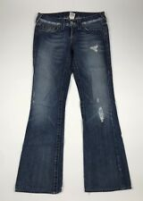 True Religion Bobby Medium Wash Flare Jeans Destroyed Distressed Size 27 X 31