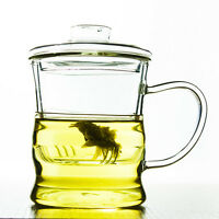 250ml Heat Resisted Clear Glass Flower Tea Cup Ergonomic Mug With Infuser