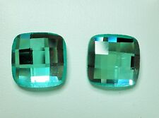 Blue Square Faceted Plastic Stud Earrings - 10mm 0n Post & Butterfly