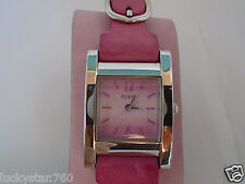 GUESS Woman's  Pink Leather Strap Watch W/ Silver Analog Dial