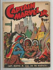 """CAPTAIN MARVEL JR #20 Gold Age Grade 4.0 """"Captain Marvel Jr Goes On the Warpath"""""""