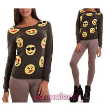 Sweater woman pullover smile long sleeve crewneck casual new TR3653
