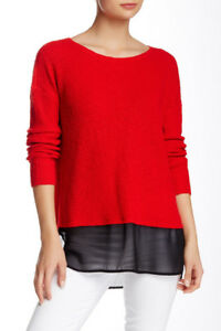 $89 NWT TWO BY VINCE CAMUTO WOMENS RED CHIFFON HEM SWEATER SIZE L