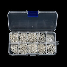 Hot Jewellery Making Components Starter Kit Tools Head Pins Beads &Box -Sliver