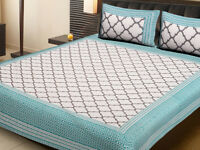 King Size 100% Cotton Bed Sheet Bed Spread With Two Pillow Cover
