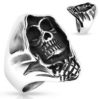 Totenkopf Ring Herren Skull Skelett Gothic Punk Massiv Rocker Knochen Edelstahl