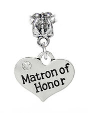 Matron of Honor Wedding Party Bridal Gift Dangle Charm for European Bracelets