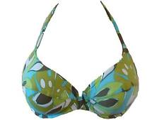 New Green Turquoise Bikini Top 32D Fantasie Carmen Halter Neck Underwired Floral