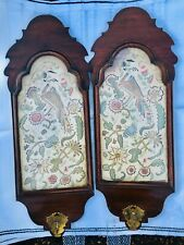WALNUT AND CREWEL WORK WALL SCONCES 1680-1720 STUMPWORK EMBROIDERED 17TH CENT