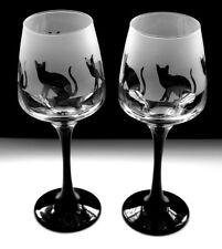 Cat sitting design black stem wine glasses Boxed