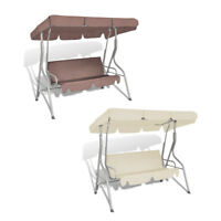 Patio Outdoor 3 Person Hanging Canopy Swing Chair Hammock Seat Sofa Coffee/White