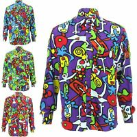Mens Shirt Loud Originals Rayon TAILORED FIT Long Sleeve TIFFY PRINT Retro Dance