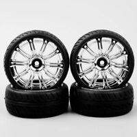 4PCS 1/10 RC Flat 12mm Hex Wheel & Rubber Tires Rim Set For On Road Racing Car