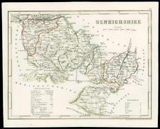 "c1860 Antique colour map of ""DENBIGHSHIRE""  Wales by Joshua ARCHER (W/DW50)"