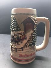 1984 Budweiser Christmas Holiday Beer Stein w Clydesdale Horses & Covered Bridge