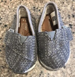 TOMS Baby Boys Gray Sweater Loafers Shoes Sz 4