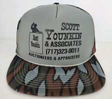Vintage Scott Younkin Auctioneer Gray Camo One Size Adult SnapBack Trucker Hat