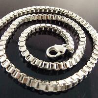 Necklace Chain Real 925 Sterling Silver S/F Solid Statement Box Link Design 18""