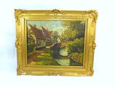 Altes Gemälde Bild Im Rahmen Belgien um 1900 signiert Ölbild Landschaft