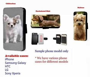 Dachshund Maltese Chihuahua dog leather phone case for Samsung iPhone