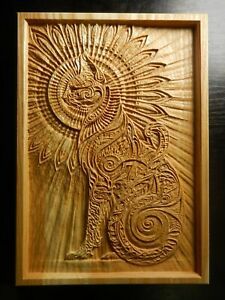 Wood carved picture wall decoration plaque.Cat stylized #1. Perfect gift