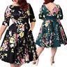 3XL-9XL Big Plus Size Women Vintage 50s Retro Rockabilly Pinup Party Swing Dress