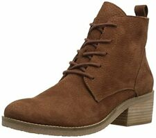 Lucky Brand Tamela Boot Brindle Taupe Lace Up Stacked Heel Ankle Combat Bootie