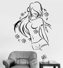 Vinyl Wall Decal Teen Girl Music Lover Headphones Dancing Flowers Sticker 1174ig