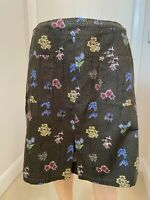 White Stuff Skirt Ladies Womens Size 14 Green Floral Pockets Pattern Print Lined