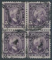 Scott 144 - 5 cent Laurier 1927 Confederation Issue used block of 4 VF-CDS