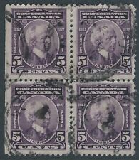 Canada 5 cent Laurier Confederation Issue Scott 144 - used block of 4 VF-CDS