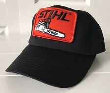 Stihl Black Trucker Hat Cap Fabric & Foam with Orange Chainsaw Patch Snapback