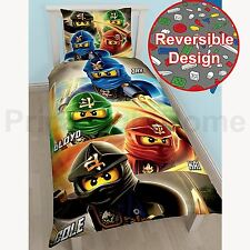 LEGO NINJAGO QUADRANT SINGLE DUVET COVER SET REVERSIBLE KIDS BEDDING