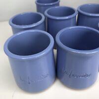 La Fermiere 7 Peri Winkle Blue Glazed Terra Cotta Pottery Yogurt Pots. Good Cond