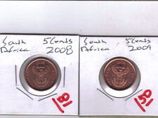 From Show Inv. - 2 UNCIRCULATED 5 CENT COINS from SOUTH AFRICA (2008 & 2009)