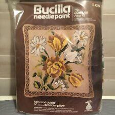 "RARE Bucilla Needlepoint Kit 4229 Tulips and Daisies 14"" Decorator Pillow NEW"