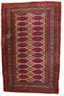 Handmade vintage Uzbek Bukhara rug 3.3' x 4.9' (100cm x 152cm) 1960s - 1C726